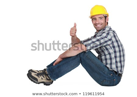 Builder sat down giving thumbs-up Stock photo © photography33