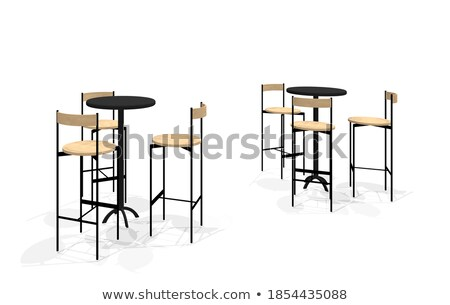 Asztal kettő székek fal étel fa Stock fotó © Ciklamen