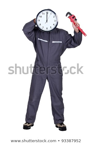 mechanic posing with a clock instead of his head Stock photo © photography33