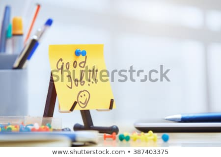 magad · írott · citromsárga · öntapadó · jegyzet · dugó · közlöny - stock fotó © stevanovicigor
