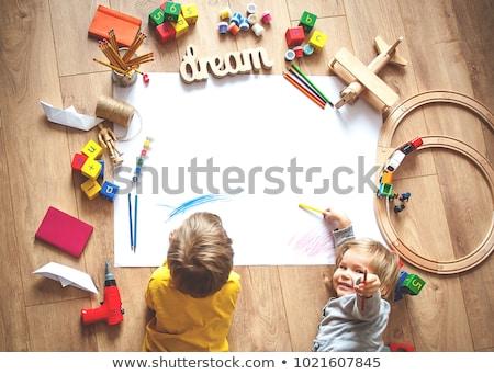 Educativo juguetes números cartas aislado blanco Foto stock © ivonnewierink