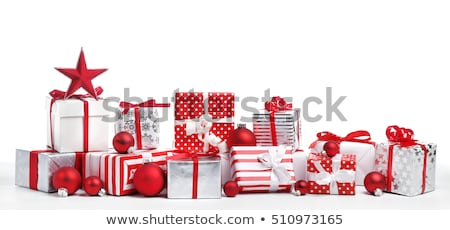 silver christmas present with red ribbons Stock photo © Rob_Stark