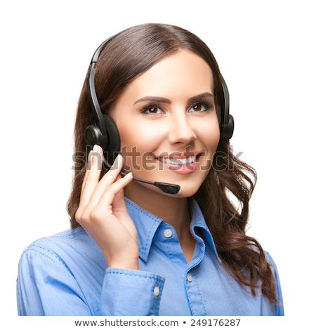cheerful call center operator against white background stock photo © nobilior