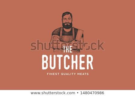 portret · slager · voedsel · werk · vlees · hoed - stockfoto © photography33