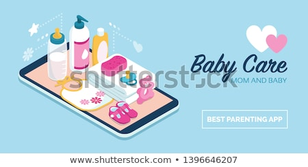 Baby milk bottle, pacifier, shampoo and towel Stock photo © karandaev