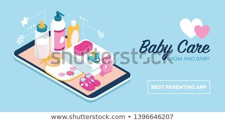 赤ちゃん · ミルク · ボトル · おしゃぶり · シャンプー · タオル - ストックフォト © karandaev