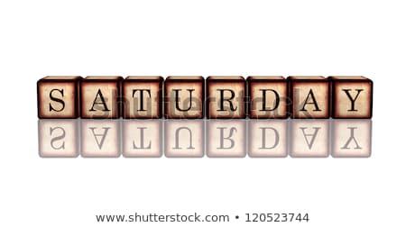 Cumartesi 3D ahşap afiş beyaz Stok fotoğraf © marinini