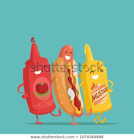 Vicces hot dog vektor rajz marhahús falatozó Stock fotó © pcanzo