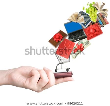 Portátil cesta de la compra vuelo dólares negocios fondo Foto stock © pterwort