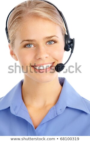 Blond girl talking on the headset. Stock photo © justinb