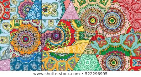 tığ · işi · yama · işi · renkli · model · kumaş · battaniye - stok fotoğraf © mikko