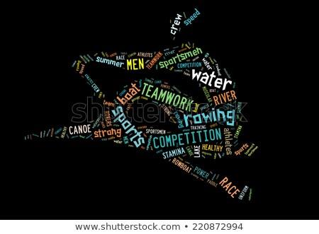 Roeien boot pictogram kleurrijk woorden zwarte Stockfoto © seiksoon
