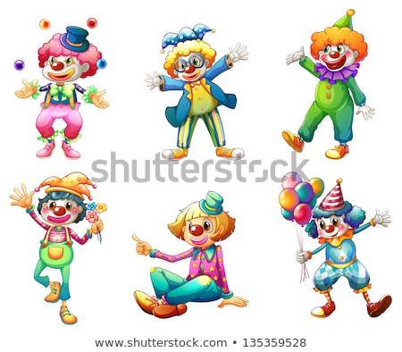 funny female clown with flower is happy stock photo © Pasiphae