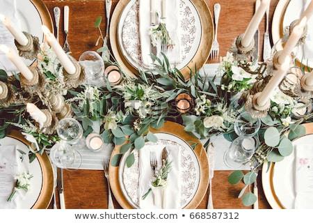 lugar · mesa · de · comedor · elegante · blanco · restaurante - foto stock © ifeelstock