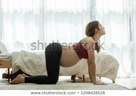 Asia embarazadas yoga posición prenatal meditación Foto stock © szefei