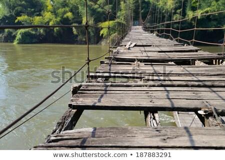 Kırık asılı köprü ahşap nehir doğa Stok fotoğraf © fxegs