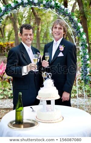 esküvői · torta · pezsgő · recepció · étel · esküvő · buli - stock fotó © lisafx