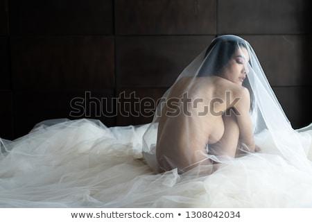 Bela mulher vestido branco nu de volta retrato em pé Foto stock © Pilgrimego