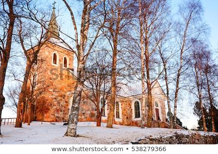 Kilise Finlandiya kış duvar doğa çapraz Stok fotoğraf © tainasohlman