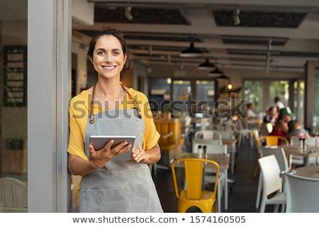 Garson genç tepsi yemek su Stok fotoğraf © egrafika