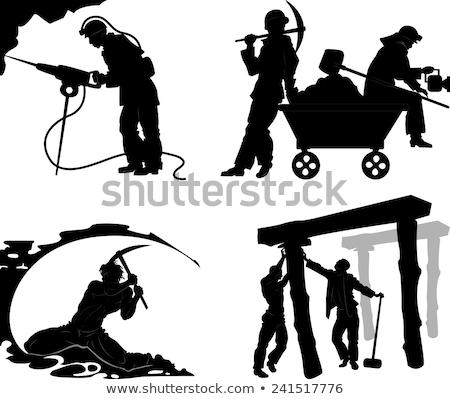 siluet · mayın · işçi · adam · ışık · kamyon - stok fotoğraf © pxhidalgo