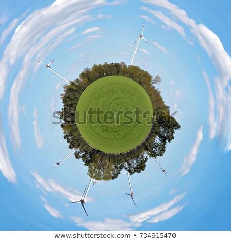 szélturbina · napsütés · tiszta · energia · kék · ég · fű · technológia - stock fotó © kirill_m