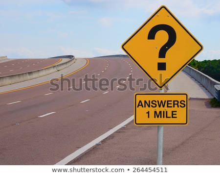 Stock photo: uncertainty   question marks on many road signs