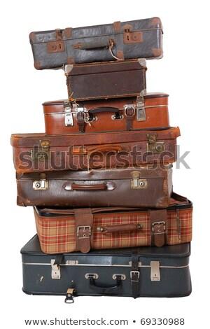 kettő · öreg · bőrönd · izolált · fehér · retro - stock fotó © hofmeester