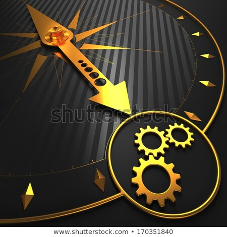cogwheel gear icon on golden compass stock photo © tashatuvango