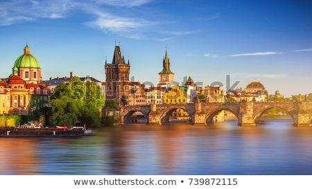 Prága · tornyok · alkonyat · Csehország · óváros · színház - stock fotó © courtyardpix