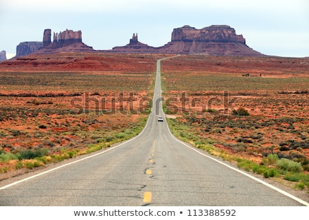 Two Lane Road Hoighway Travels Desert Southwest Utah Landscape Stock photo © cboswell
