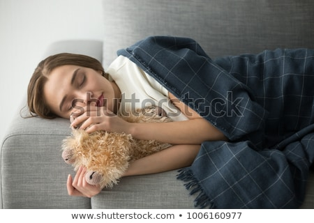 young woman sleeping with teddy bear stock photo © andreypopov