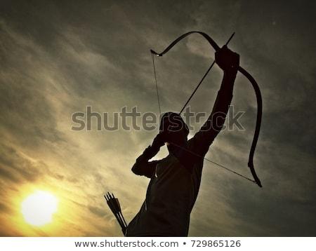 Boogschieten silhouet zonsondergang hemel landschap zwarte Stockfoto © adrenalina