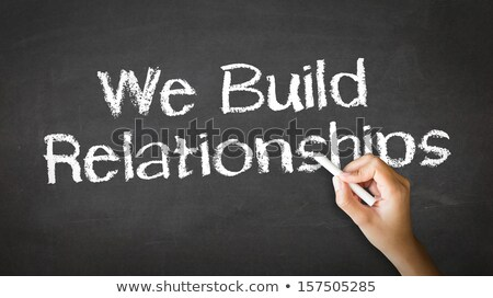 Stockfoto: We Build Relationships Chalk Illustration