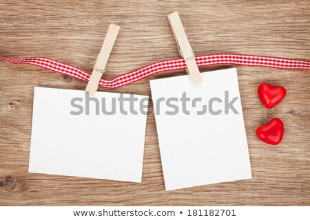Blank instant photo and red candy hearts Stock photo © karandaev