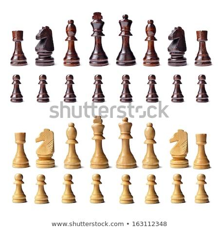 piezas · de · ajedrez · marrón · blanco · rey - foto stock © frankljr