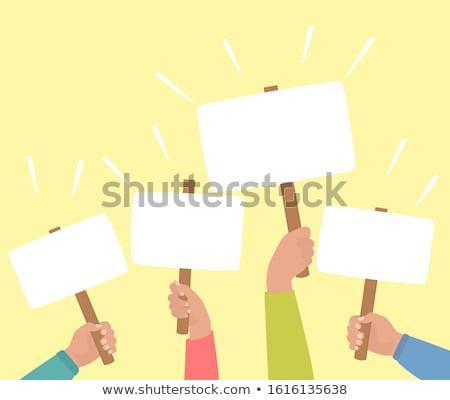 verkiezing · poster · cartoon · kandidaat · gelukkig · pak - stockfoto © silense