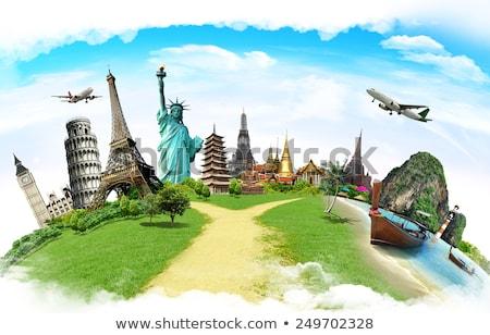 Seyahat örnek arka plan uçak heykel Avrupa Stok fotoğraf © vectomart