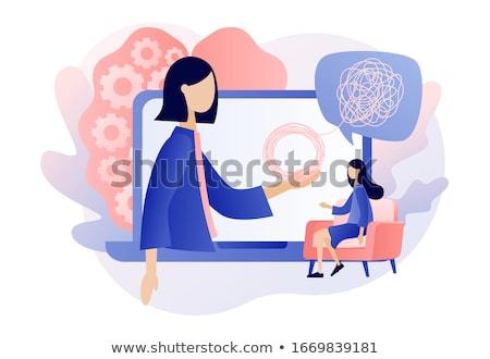 Pszichológia piros pecsét fehér tanulás címke Stock fotó © chrisdorney