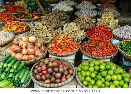 Vers knoflook bloem markt Bangkok Stockfoto © meinzahn