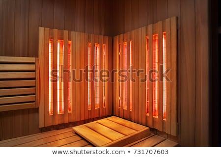 infravermelho · sauna · cabine · lâmpada · banco · barril - foto stock © chilliproductions