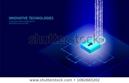 Data Security on Blue in Flat Design. Stock photo © tashatuvango