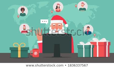 Navidad · mujer · silueta · patrón · vector - foto stock © beaubelle