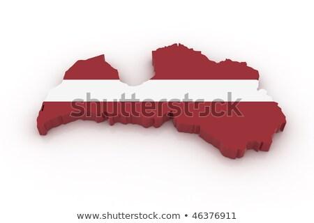 Kaart Letland 3D vorm gekleurd Blauw Stockfoto © NiroDesign