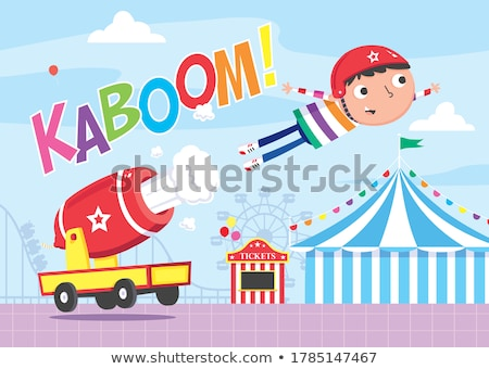 firing cannon and cannonball cartoon Stock photo © izakowski