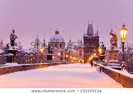 pont · nuit · hiver · personnes · neige · lampe - photo stock © phbcz