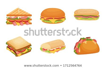 Cartoon сэндвич набор изолированный белый продовольствие Сток-фото © cteconsulting