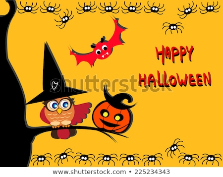 happy halloween card young witch and pumpkins vector illustration stock photo © carodi