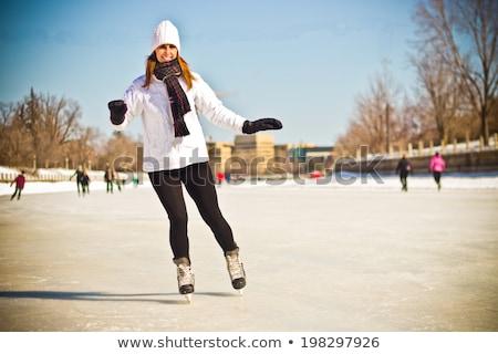 Kış portre kadın Ottawa kanal mutlu Stok fotoğraf © bigjohn36