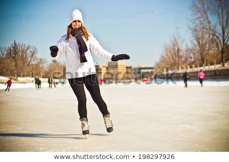 Winter portrait of a woman at the Ottawa Rideau Canal  Stock photo © bigjohn36